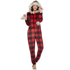 Juniors' Peace, Love & Fashion Hooded Faux-Fur Buffalo Check One-Piece Pajamas