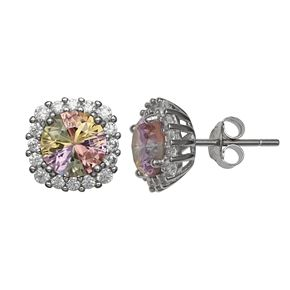 PRIMROSE Sterling Silver Rainbow Cubic Zirconia Cushion Stud Earrings