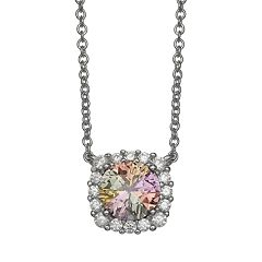 PRIMROSE Sterling Silver Rainbow Cubic Zirconia Cushion Necklace