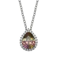 PRIMROSE Sterling Silver Rainbow Cubic Zirconia Teardrop Necklace