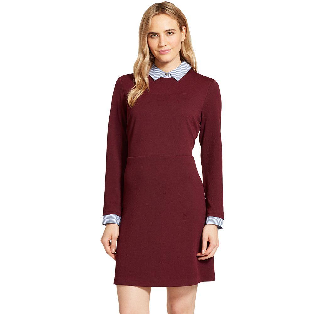 Women's IZOD Mock-Layer Shirt Dress