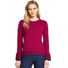 Women's IZOD Striped-Trim Bell Sleeve Sweater