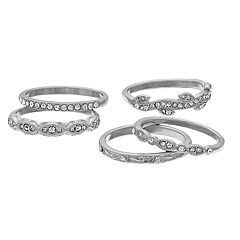 Silver Tone Simulated Stone Ring Set