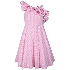51f4be6e8cf Girls 7-16 Bonnie Jean Asymmetrical Ruffle Seersucker Dress
