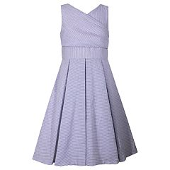 Girls 7-16 Bonnie Jean Crossover Bodice Seersucker Dress