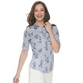 Petite Croft & Barrow® Button Front Roll-Tab Shirt
