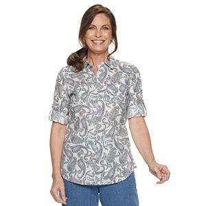dc45dfb3b5fe4a Sale.  19.99. Original.  36.00. Petite Croft   Barrow® Print Roll-Tab Shirt