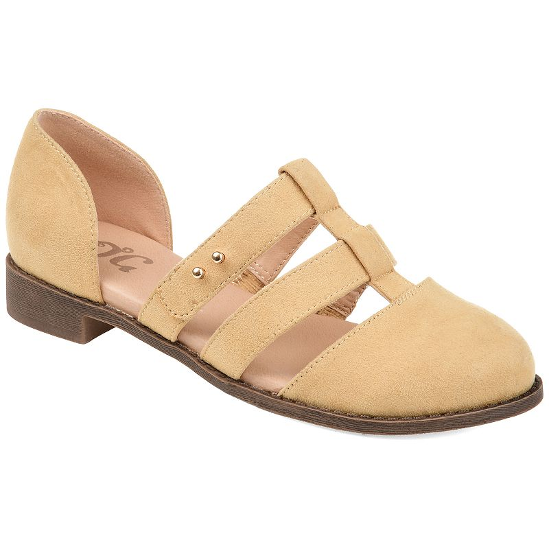 Eclectic charm abounds on these charming Clarise shoes from Journee Collection. SHOE FEATURES D\\\'Orsay styling Caged design Metal stud accents Durable traction sole SHOE CONSTRUCTION Faux suede upper Polyurethane lining Rubber, manmade outsole SHOE DETAILS Closed toe Slip-on Padded foobted Size: 12. Color: Brown. Gender: female. Age Group: adult. Material: Synthetic.