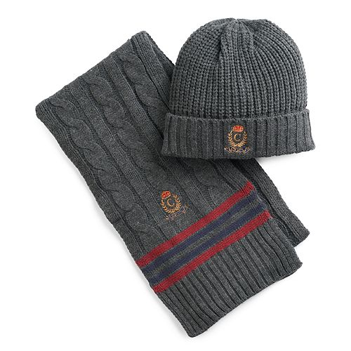 124ef2c3b86cb Men's Chaps Cricket Throwback Cable-Knit Hat & Scarf Set