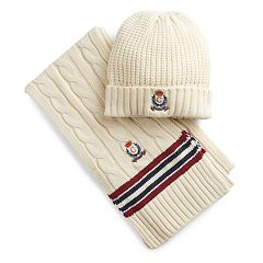 Men's Chaps Cricket Throwback Cable-Knit Hat & Scarf Set