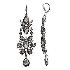 Simply Vera Vera Wang Hematite Tone Simulated Crystal Linear Drop Earrings