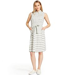 Women's IZOD Striped Linen-Blend Shirt Dress