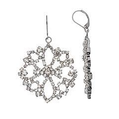 Simply Vera Vera Wang Hematite Tone Simulated Stone Lace Drop Earrings