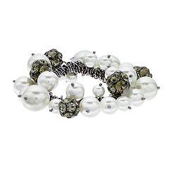 Simply Vera Vera Wang Hematite Tone Simulated Crystal & Pearl Charm Drop Stretch Bracelet