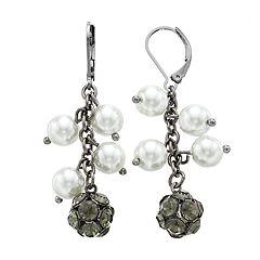 Simply Vera Vera Wang Hematite Tone Simulated Stone & Pearl Cluster Drop Earrings