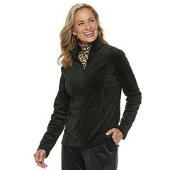 Women's Croft & Barrow® Zip-Front Velour Jacket