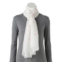 Women's LC Lauren Conrad Embroidered Daisy Oblong Scarf