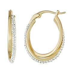 Chrystina 14k Yellow Gold over Fine Silver Crystal Hoop Earrings