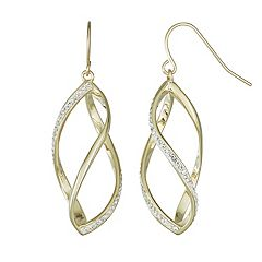 Chrystina 14k Gold Plated Crystal Swirl Cage Drop Earrings