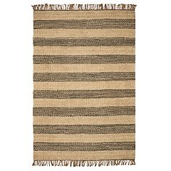 KAS Rugs Woven Striped Fringe Rug