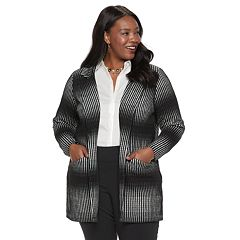 Plus Size Dana Buchman Striped Open-Front Jacket