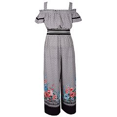 Girls 7-16 Bonnie Jean Cold-Shoulder Print Jumpsuit