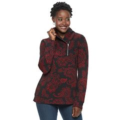 Women's Croft & Barrow® Shawl Collar 1/4-Zip Jacquard Sweatshirt