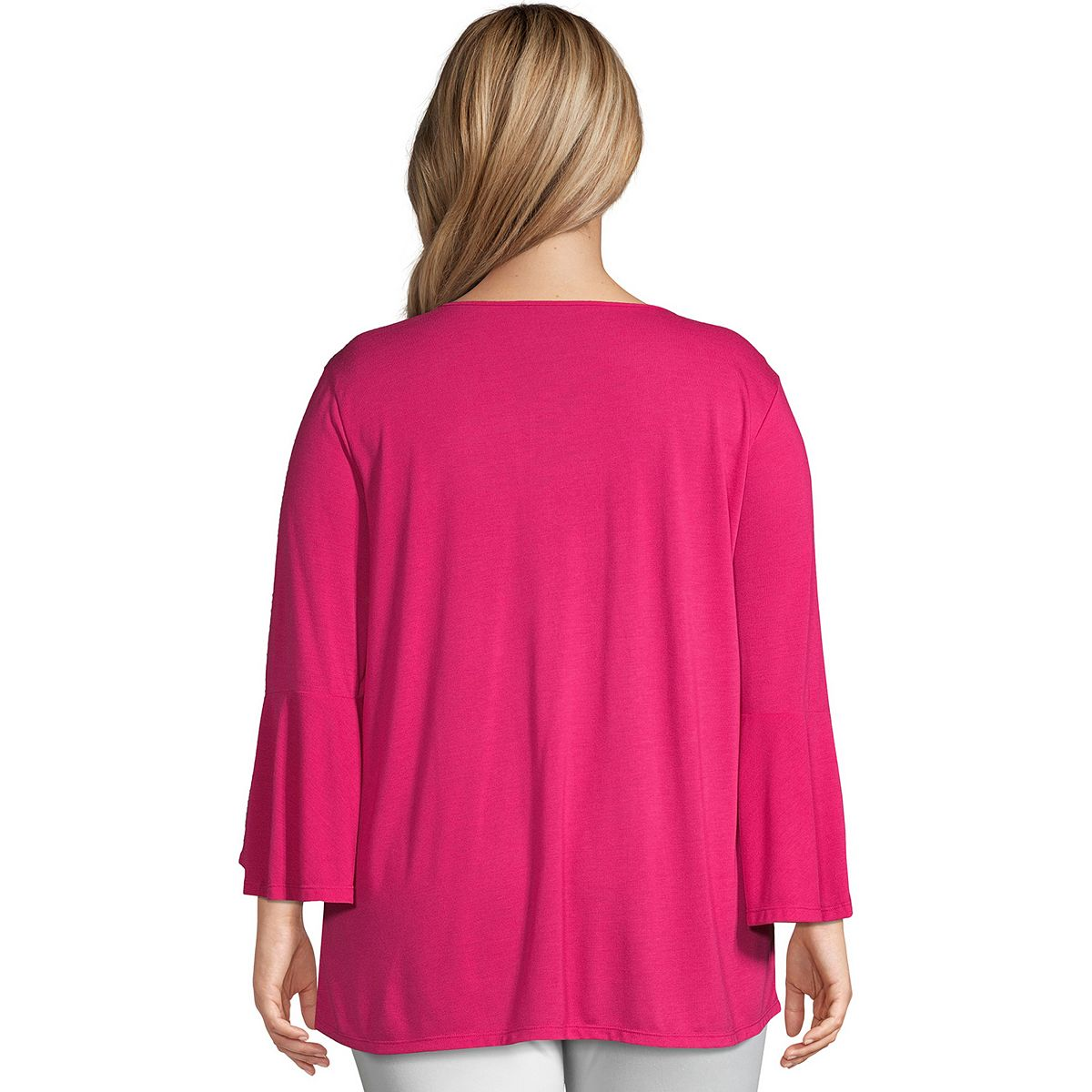 Plus Size Just My Size Bell Sleeve Pin-tuck Top Ocean Dept PzhYV