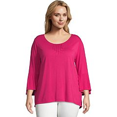 Plus Size Just My Size Bell Sleeve Pin-tuck Top