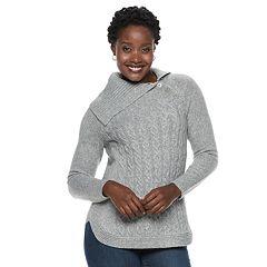 Women's Croft & Barrow® Cable-Knit Splitneck Sweater