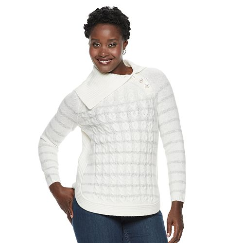 Women's Croft & Barrow® Cable-Knit Splitneck Sweater