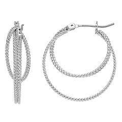 Chain Detail Nickel Free Layered Hoop Earrings
