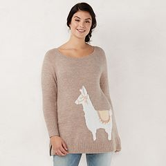 Plus Size LC Lauren Conrad Graphic Crewneck Tunic Sweater