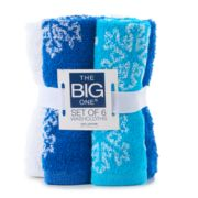 The Big One® 6-pack Snowflake Washcloths