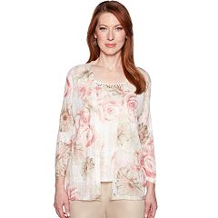 810f084a Women's Alfred Dunner Studio Embellished Mock-Layer Floral Cardigan. sale
