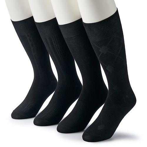 Men's Croft & Barrow® 4-pack Opticool Patterned Neutral Crew Socks