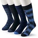 Men's Croft & Barrow® 4-pack Opticool Abstract Patterned Crew Socks
