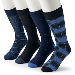 Men's & Big & Tall Croft & Barrow® 4-pack Opticool Abstract Patterned Crew Socks