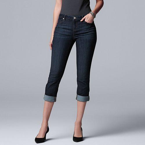 afbd96591483f Women's Simply Vera Vera Wang Cuffed Capri Jeans
