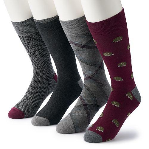 Men's Croft & Barrow® 4-pack Opticool Hedgehog Crew Socks