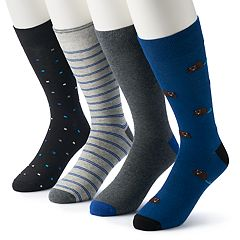 Men's & Big & Tall Croft & Barrow® 4-pack Opticool Patterned & Hedgehog Crew Socks