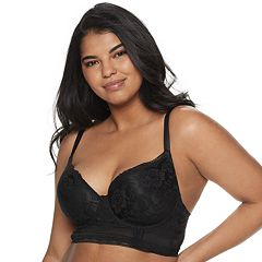 Juniors' Plus Size Its' Just A Kiss Lace Plunge Push Up Long Line Bra