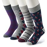 Men's Croft & Barrow® 4-pack Opticool Flip Cup Crew Socks