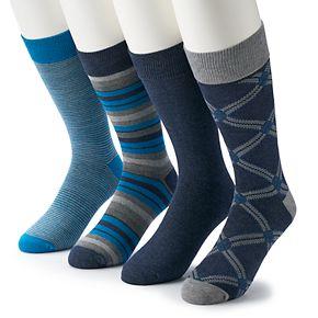 Men's Croft & Barrow® 4-pack Opticool Patterned Crew Socks