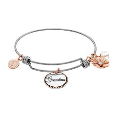 love this life 'Grandma' & Flower Charm Bangle Bracelet