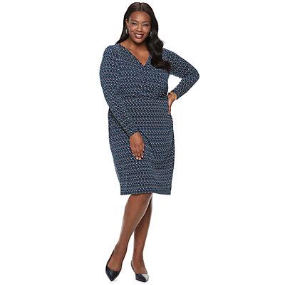 Plus Size Dana Buchman Travel Anywhere Print Faux-Wrap Dress