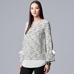 Petite Simply Vera Vera Wang Mock-Layer Tie Sleeve Top