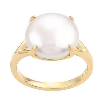 PearLustre by Imperial 14k Gold Freshwater Cultured Coin Pearl Ring