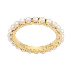 PearLustre by Imperial 14k Gold Freshwater Cultured Pearl Eternity Ring