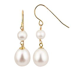 PearLustre by Imperial 14k Gold Freshwater Cultured Pearl Double Drop Earrings